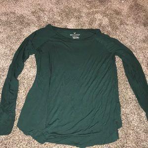 american eagle long sleeve soft green shirt